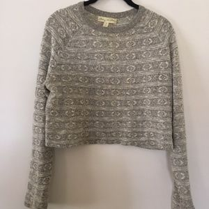 urban outfitters grey print cropped sweater